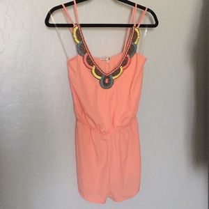 Charlotte Russe Peach Embroidered Romper
